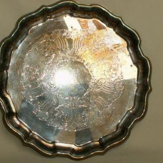 Поднос  медь, серебрение. Клеймо