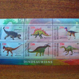 Кот-дИвуар.2013г. Фауна. Динозавры. Блок. MNH