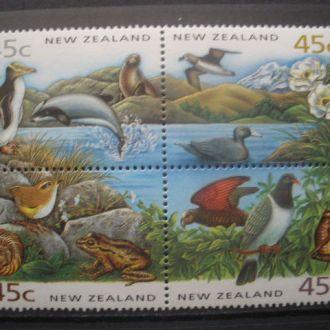 Новая Зеландия.1993г. Фауна.Птицы. WWF. Кварт. MNH