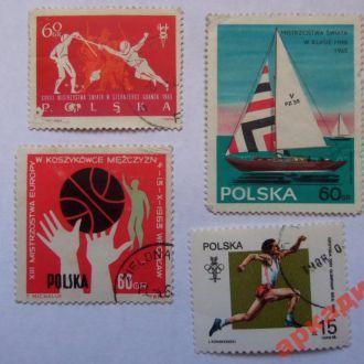 марки-Польша- от 1гр -(к9) Спорт 1965г 4шт