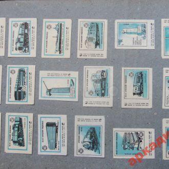 спичечные этикетки-с1гр-18шт(п)- тепловозы Брянск