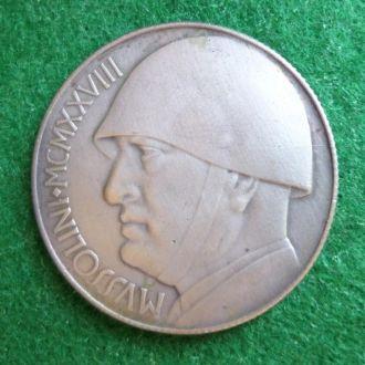 Италия медаль-монета 20 лир Муссолини сплав КОПИЯ
