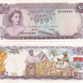 Baham Багамы Багамские 1/2 Dollar 50 Cents 1968 XF