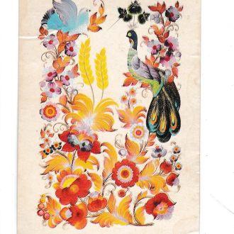 Календарик 1986 Цветы, птица