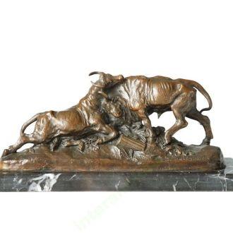 бронзовая скульптура  бронза мрамор бой быков. Доставка бесплатно !
