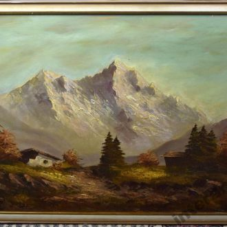 старая картина масло холст оригинал лес Швейцария