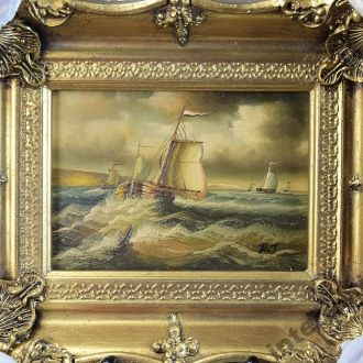 Англия картина парусник корабль море масло дерево