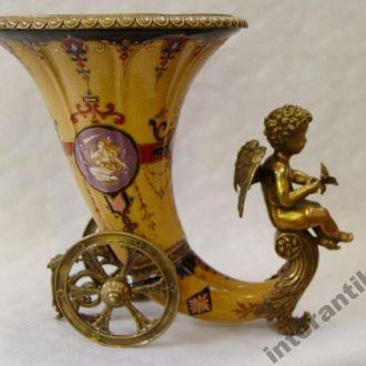 Фарфор бронза большая ваза рог ангел  !!! Доставка бесплатно !