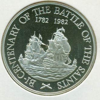 20$ Сент- Китс и Невис 1982г.серебро парусники