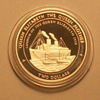 2 доллара1998 г  Фиджи. 16 г Ag 925 пр. ПРУФ.