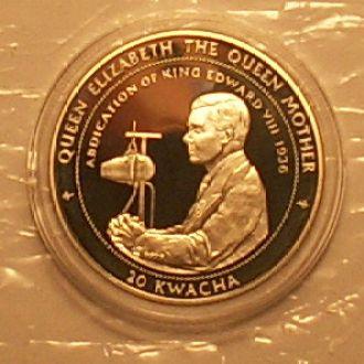 20 квача 1998 г. Малави. 31.47 г. Ag 925 пр. Пруф.