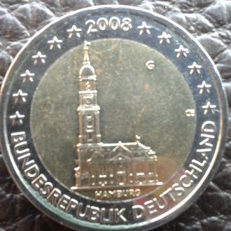 Германия 2 евро 2008 года Гамбург