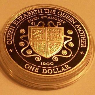 1 доллар1994 г. Кайманы. 28.28 г. Ag 925 пр. Пруф.