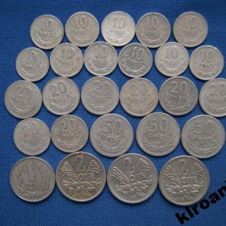 СУПЕРЦЕНА  Польша НАБОР монет 26 шт разные года