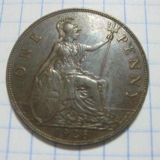 Монета Великобритания 1 пенни 1928 год