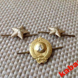 Звездочки на погоны (малые) и эмблема МВД СССР