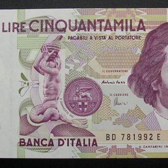 Италия 50000 лир 1992 Бернини UNC