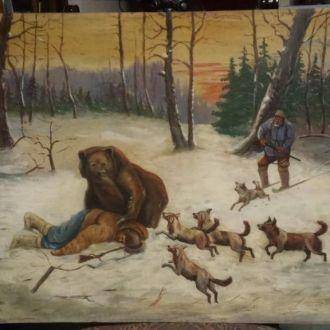Картина старинная Охота на медведя