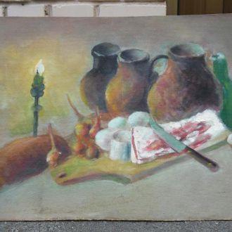 Картина Натюрморт c салом при свечх[   П.Ф. Бредюк