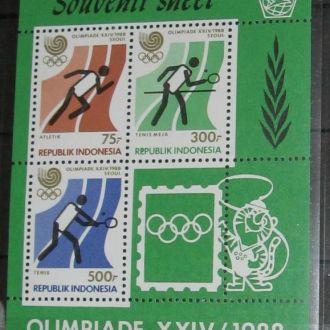 Индонезия 1988 олимпиада Сеул теннис штанга бег пл