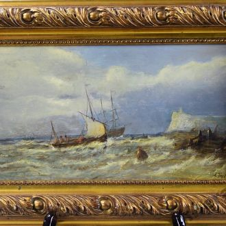 старая картина оригинал масло каталог A. Hulk море