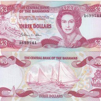 Bahamas Багамы Багамские 3 Dollars 1984 UNC Javir
