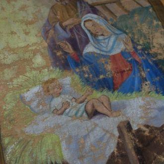 Старая икона на полотне. Рождество Иисуса Христа