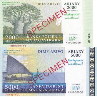 Мадагаскар 2000 + 5000 Ariary 2007 UNC Юб SPECIMEN