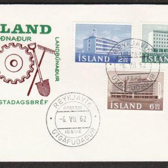 Исландия 1962 РЫБОЛОВСТВО РЫБАЛКА ЗЕМЛЕДЕЛИЕ ЗЕМЛЕОТВОД ТРАДИЦИИ КПД Mi.361-363