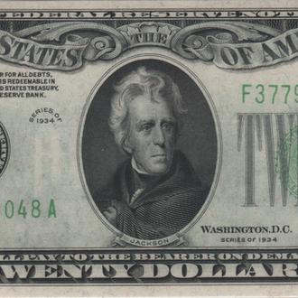 20 долларов США 1934г. в UNC бона из пачки