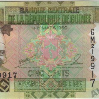 Гвинея 500 франков 2006 г. в UNC