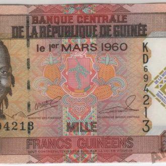 Гвинея 1000 франков 2010 г. в UNC