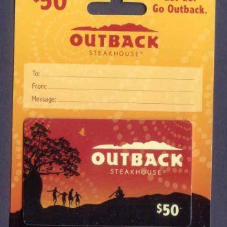 Подарочная карточка пластиковая. Gift Card Outback