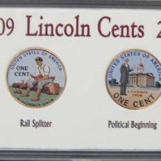 Набор Цветных Монет 1 Цент Линкольн (2009)