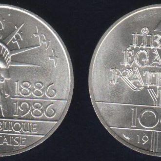 100 Франков Франция 1986 Статуя Свободы Серебро