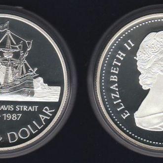 1 Доллар Канада 1987 Пролив Пруф UNC Серебро