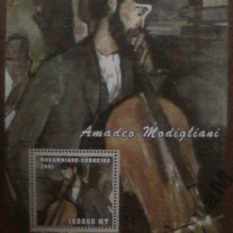 Мозамбик 2001 БЛ MNH живопись Модильяни