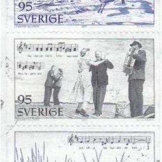 Швеция 1977 ТУРИЗМ ПЕЙЗАЖИ РЫБАЛКА ЧАЙКА Mi.983-7