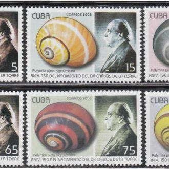 Куба 2008 ПОДВОДНЫЙ МИР МИДИИ РАКУШКИ ИХТИОЛОГИЯ МОРСКАЯ ФАУНА ДИКАЯ ПРИРОДА Серия 6м** MNH