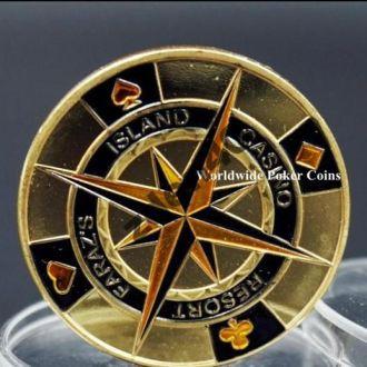 Покер монета - золотой компас масонский знак