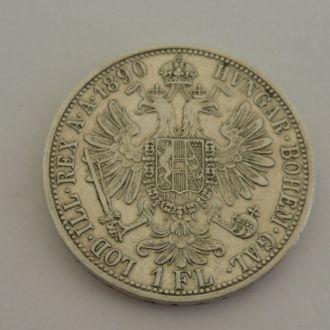 Австрия 1 флорин 1890 г  серебро