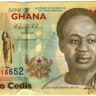 Гана 2 Седи 2010 в UNC из пачки серия АА