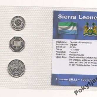Набор монет СЬЕРРА-ЛЕОНЕ пластик блистер запайка