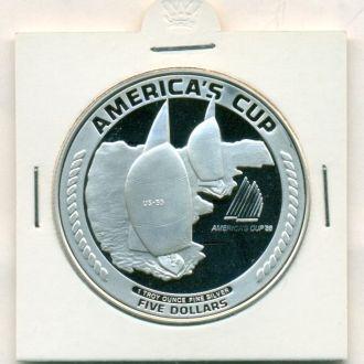 5$ Американское Самоа 1988г. серебро парусники