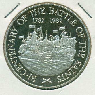 10$ Сент-Люсия 1982г.серебро парусники