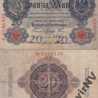Germany Германия - 20 Mark Ro. 31  7. 02. 1908 VG+