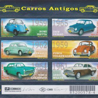 Бразилия 2001 АНТИЧНЫЕ АВТОМОБИЛИ Mi.3158-63 EUR 8