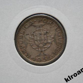 Мозамбик 10 эскудо 1955 г СЕРЕБРО