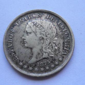 Колумбия 50 сентаво 1875 г серебро Редкая!!!