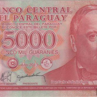 Парагвай 5000 Гуарани 2011 в UNC. Полимерная